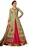 Crimson and Olive Drab Art Silk Bridal Gown