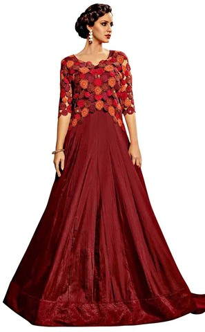 Burgundy Royal Art Silk Wedding Gown