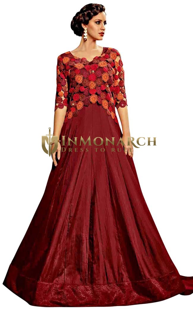 Burgundy Royal Art Silk Wedding Gown