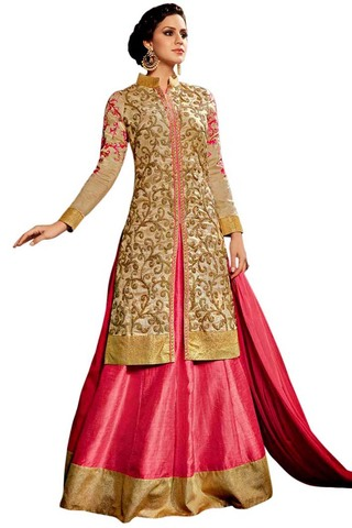 Pink and Beige Bridal Wear Gown