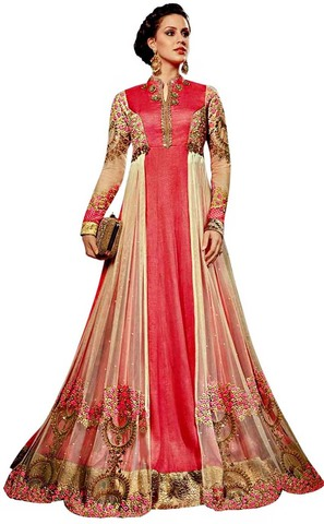 Pink Art Silk Embroidered Bridal Wear Gown