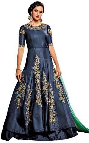 Aqua Blue Fancy Art Silk Partywear Gown