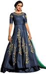 Aqua Blue Fancy Art Silk Partywear Gown