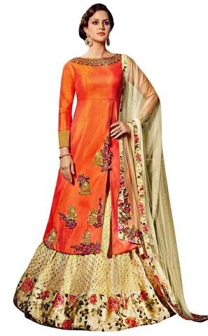 Orange and Cream Art Silk Wedding Gown