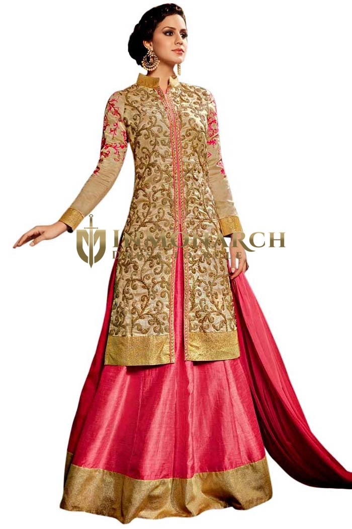 Pink and Beige Partywear Salwar Suit
