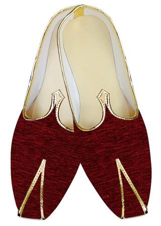 Mens Sherwani Juti Shoes Maroon Jute Velvet Wedding Shoes