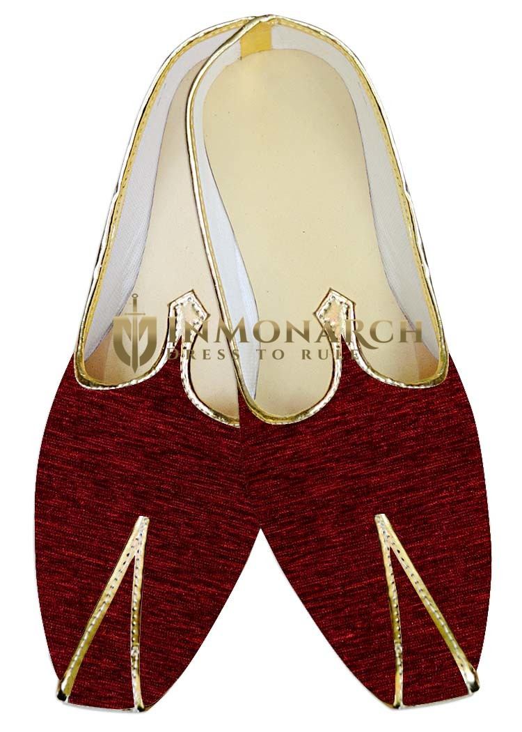 Mens Sherwani Juti Shoes Maroon Jute Velvet Wedding Shoes