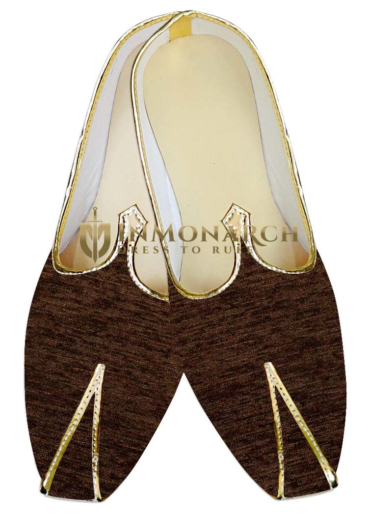 Mens Juti Brown Jute Velvet Wedding Shoes Sherwani Shoes