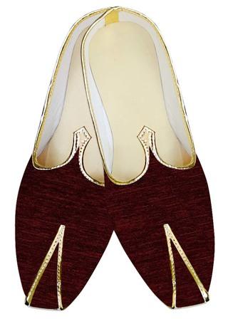 Indian WeddingShoes For Men Wine Jute Velvet Wedding Shoes