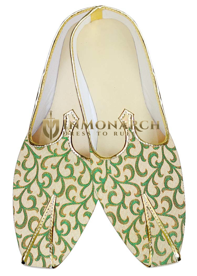 Indian Mens Shoes Ivory and Green Wedding Mojari Traditional Shoes