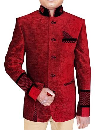 Mens Maroon 3 Pc Jodhpuri Suit Patch Work