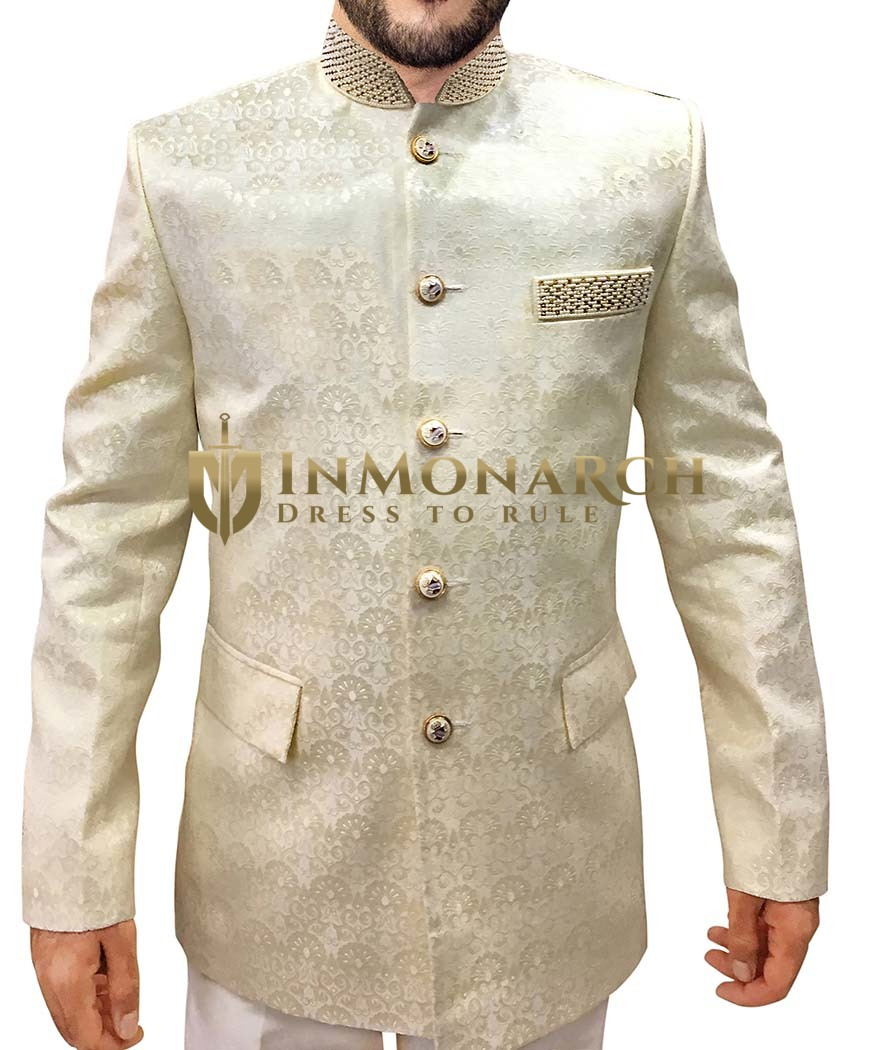 Mens Cream 2 Pc Jodhpuri Suit Hand work