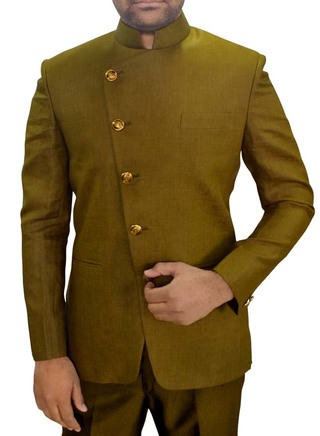 Mens Olive Drab 2 Pc Jodhpuri Suit Angrakha Style