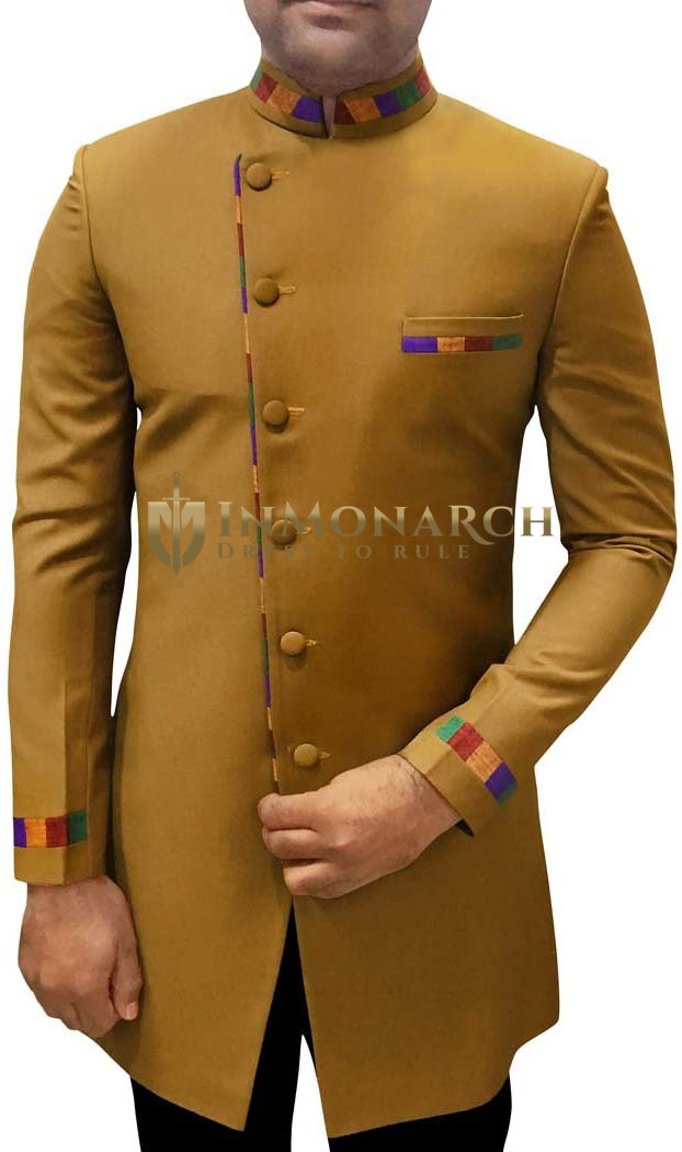 Sherwani for Men Wedding Khakhi Indowestern Angrakha Style Sherwani