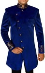 Mens Sherwani Blue Velvet Indowestern Suit Angrakha Pattern kurta for jeans