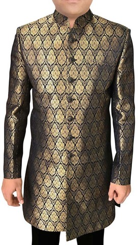 Mens Golden Sherwani kurta Indowestern Groomswear Wedding Sherwani