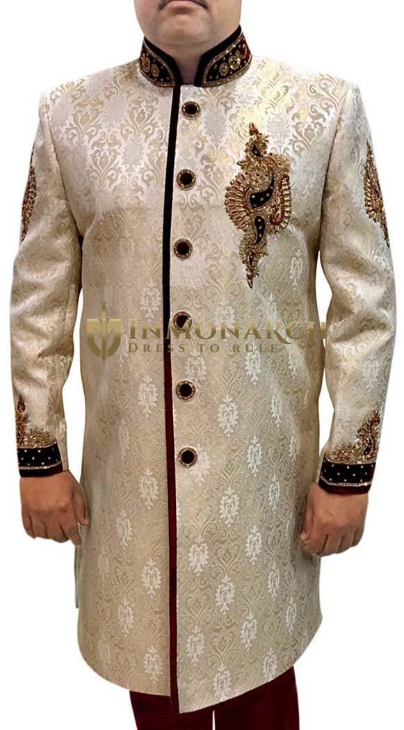 Indian Sherwani for Men Ivory Indowestern Embroidery Work Mens Sherwani Kurta