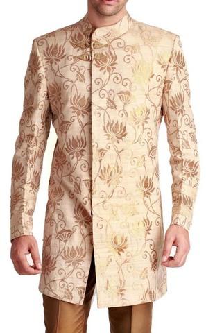 Mens Ivory 2 Pc Wedding Indowestern Suit