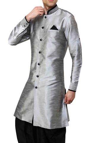 Mens Silver 3 Pc Indowestern Sherwani