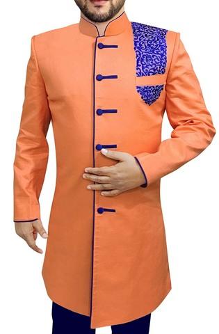 Mens Orange 2 Pc Indowestern Thread Embroidery