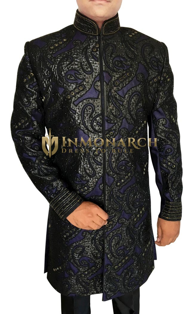 Mens Sherwani Regency Indowestern Embroidered Patch Work