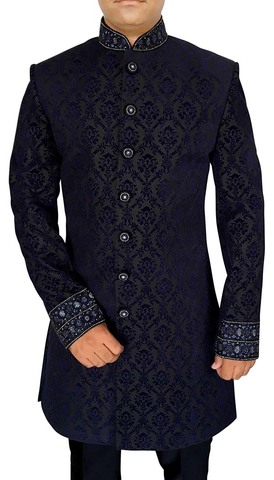 Mens Navy Blue 2 Pc Indowestern Suit Embroidered