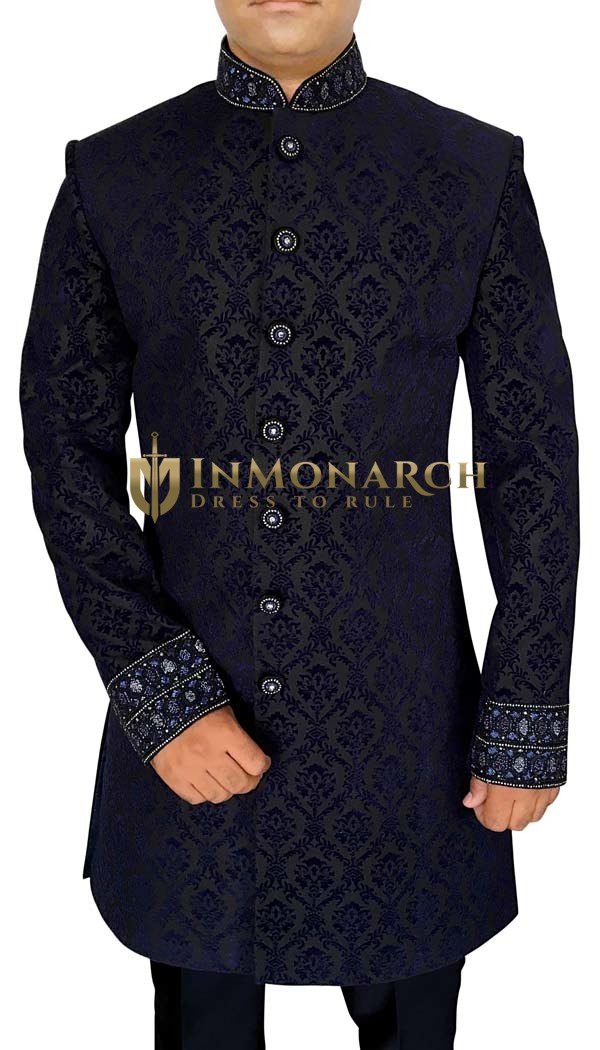 Sherwani for Men Navy Blue Indowestern Suit Embroidered