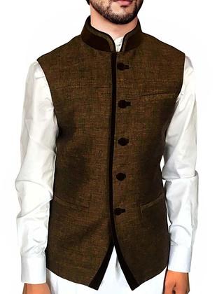 Mens Brown Nehru Vest Velvet Trimming