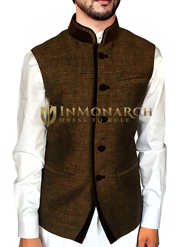 Mens Brown Festive Vest Velvet Trimming Indian Jacket