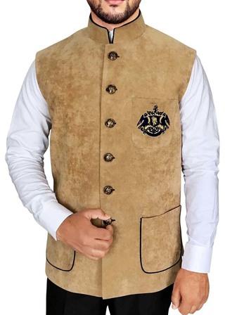 Mens Beige Nehru Vest Patch Pocket
