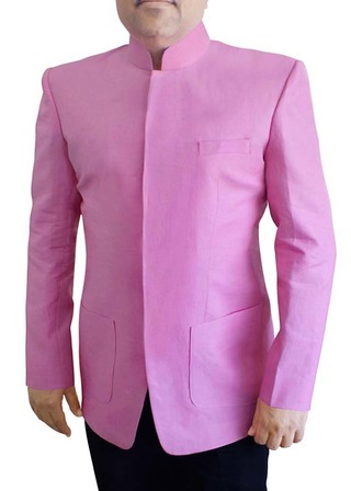 Mens Pink Linen 2 Pc Jodhpuri Suit Stand Collar