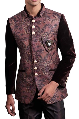 Mens Burgundy 3 Pc Jodhpuri Suit Formal Occasion