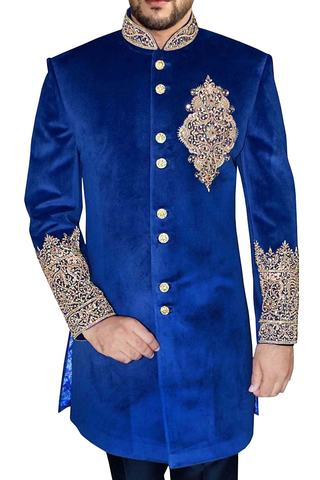 Indian Wedding for Men Blue Indowestern Stand Collar Embroidered