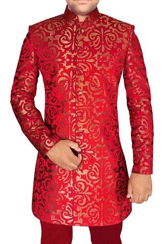 Mens Crimson 2 Pc Indo Western Groomsman Prom