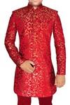 Mens Wedding Sherwani Crimson Indo Western Groomsman Prom
