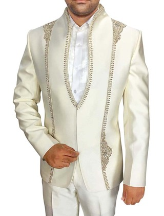 Mens Cream 3 Pc Partywear Suit Stand Collar Embroidered
