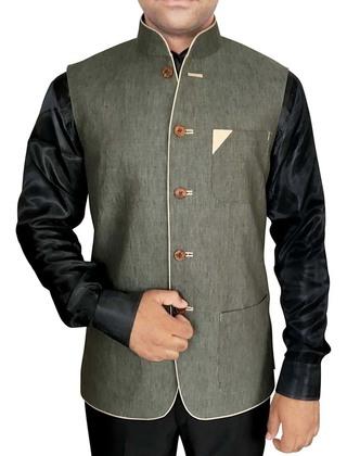 Mens Olive Drab Nehru Vest Stylish V Neck
