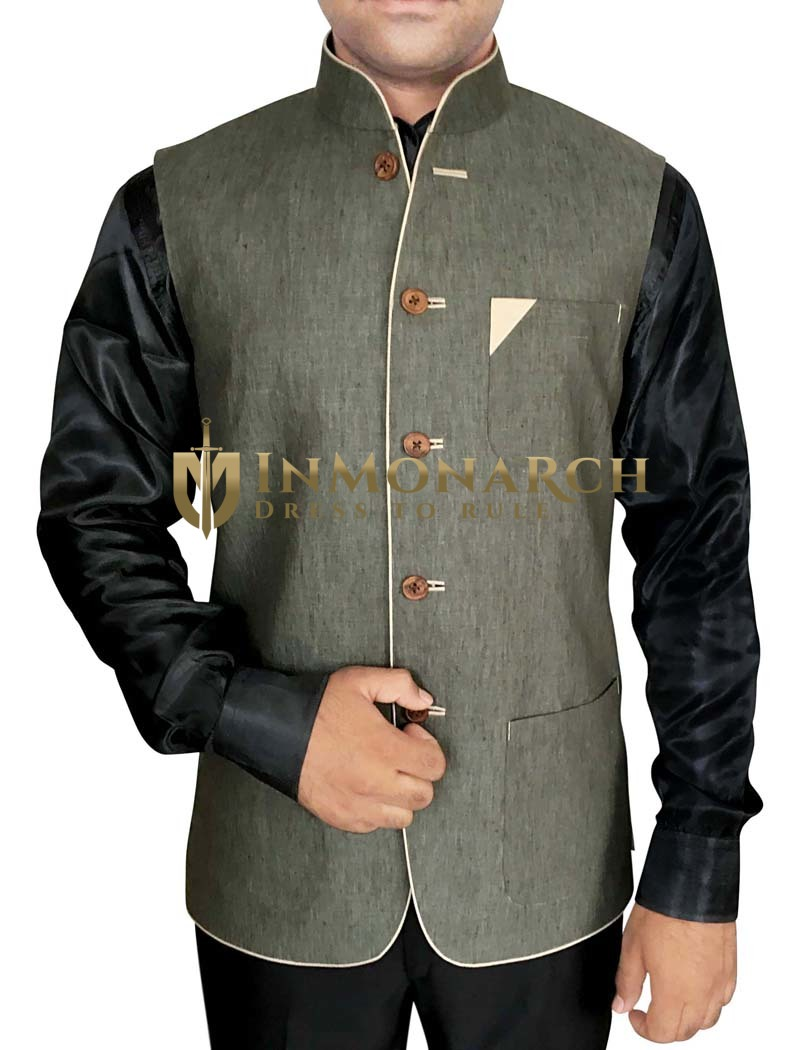 Mens Modi Jacket Olive Drab Nehru Vest Stylish V Neck