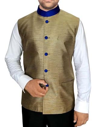 Mens Golden Nehru Vest Mandarin Collar