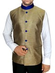 Mens Golden Indian Vest Nehru Waistcoat Mandarin Collar