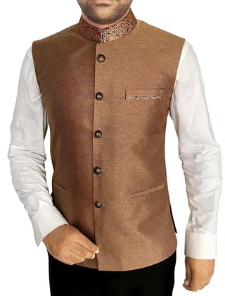 Mens Waistcoat Copper Nehru Vest Chinese Collar