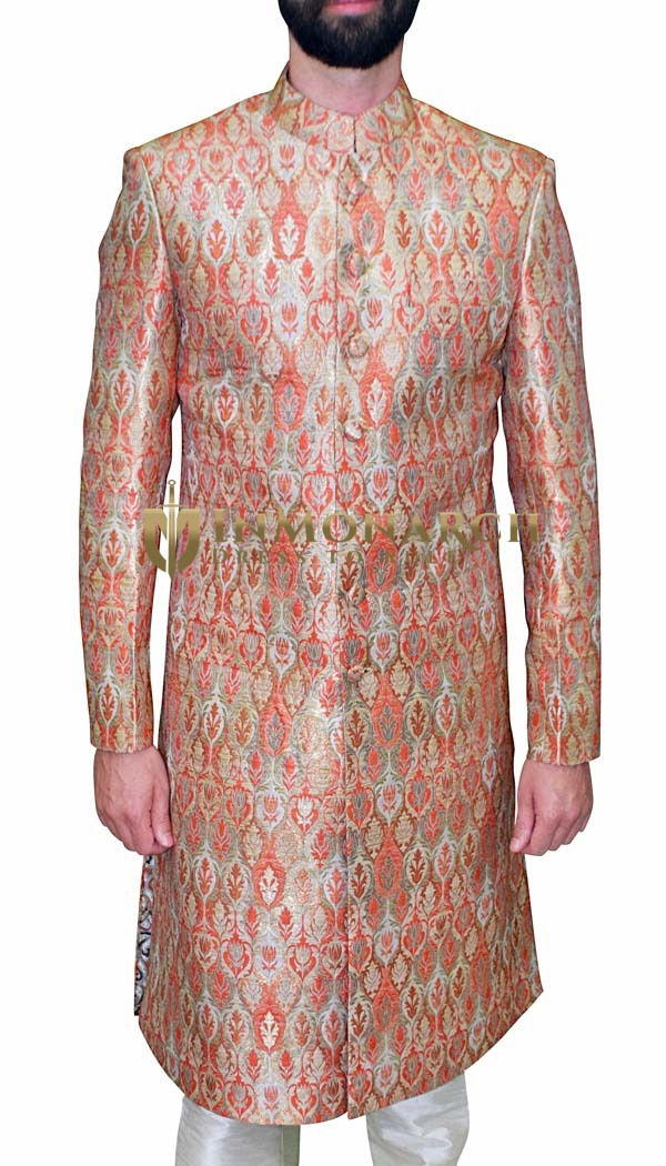Men Sherwani Salmon Wedding Sherwani Traditional Indo Western Outfit