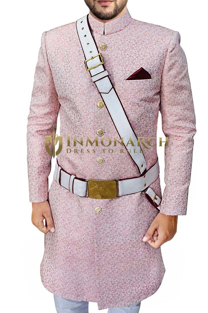 Mens Indian Sherwani Pink Wedding Groom Sherwani
