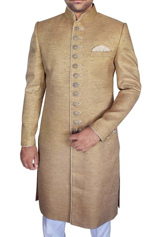 Mens Indo Western Outfit Beige Sherwani Traditional Designer