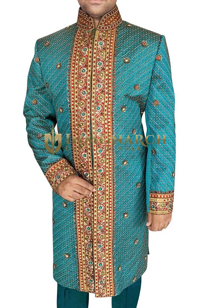 Mens Western Attire Teal Sherwani Ethnic Wedding Indian