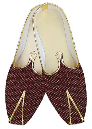 Mens Juti Burgundy Jute Wedding Shoes Designer Sherwani Shoes