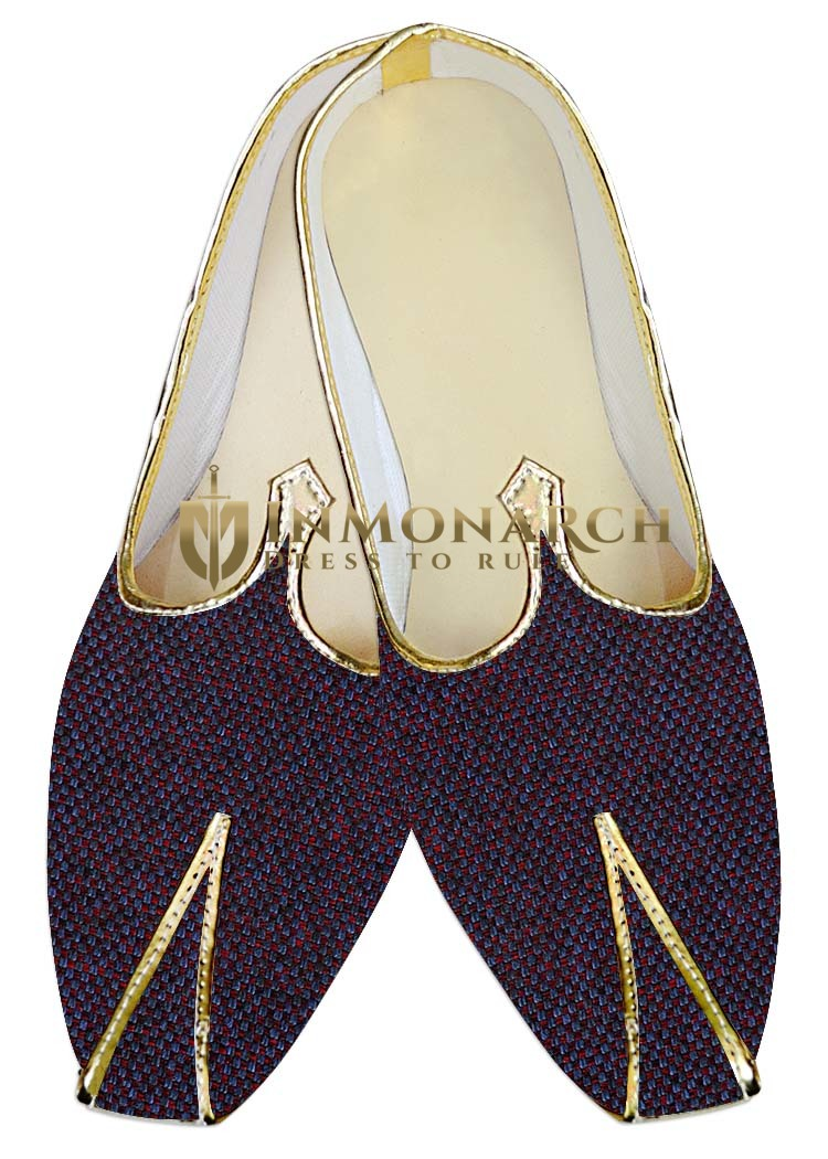 Mens Indian Bridal Shoes Red and Blue Jute Indian Wedding Shoes For Men