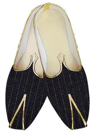 Mens Sherwani Shoes Dark Navy Check Jute Juti ForMen Wedding Shoes