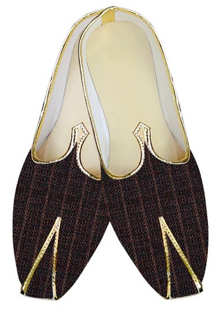Juti For Men Brown Checks Jute Wedding Shoes Indian Bridal Shoes
