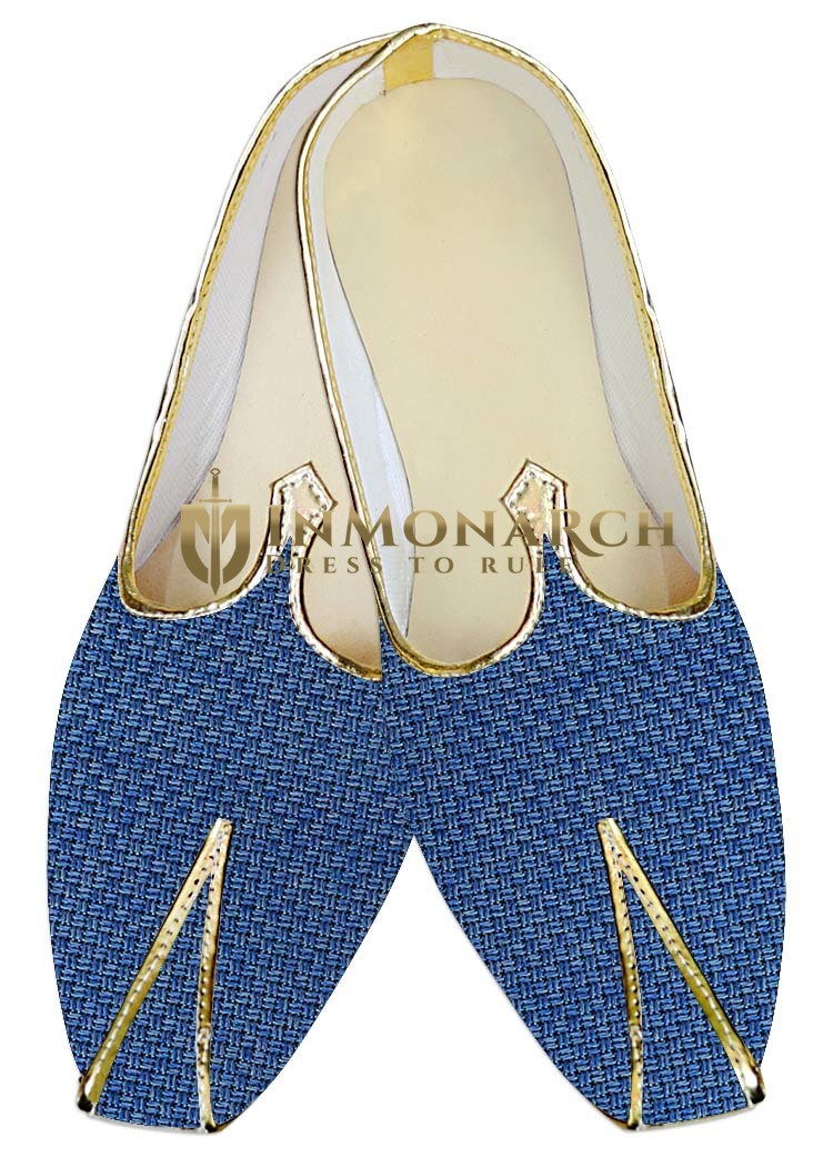 Traditional Shoes For Men Steel Blue Jute Wedding Shoes